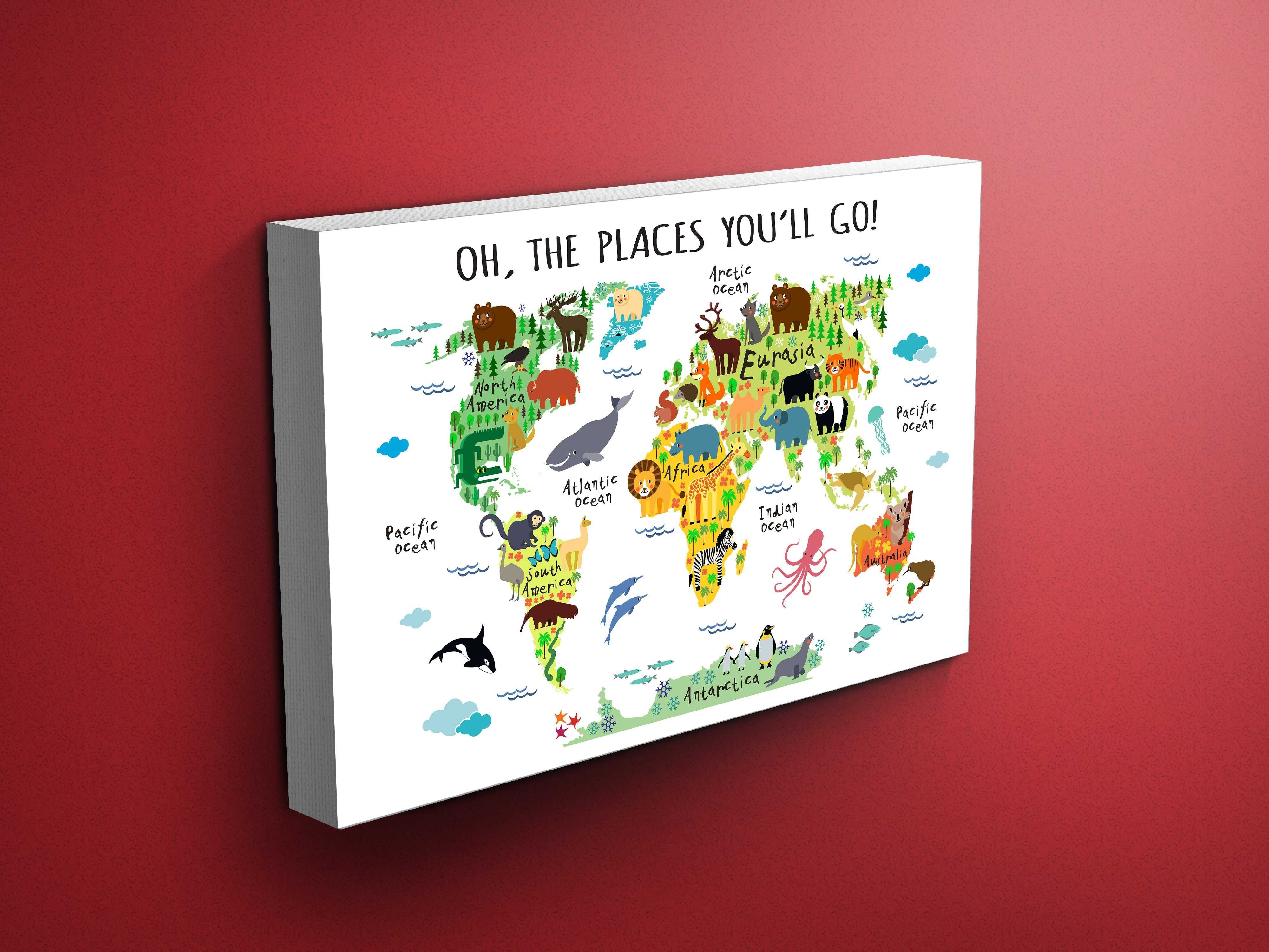 Nursery animals world map canvas dr seuss quote shop panel nursery animals world map canvas dr seuss quote gumiabroncs Choice Image