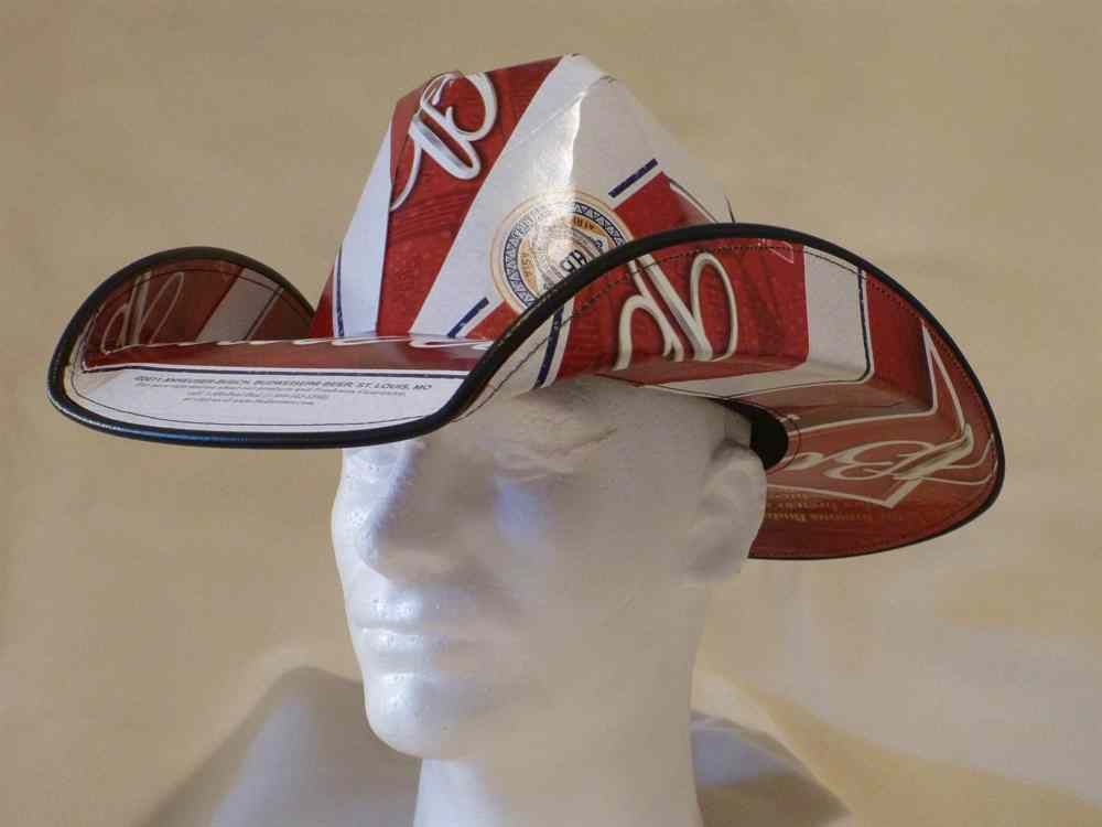 dde37288b579a Cowboy Hat made from recycled Budweiser BEER Boxes (Product Front)