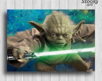 Yoda star wars cartelismo acuarela