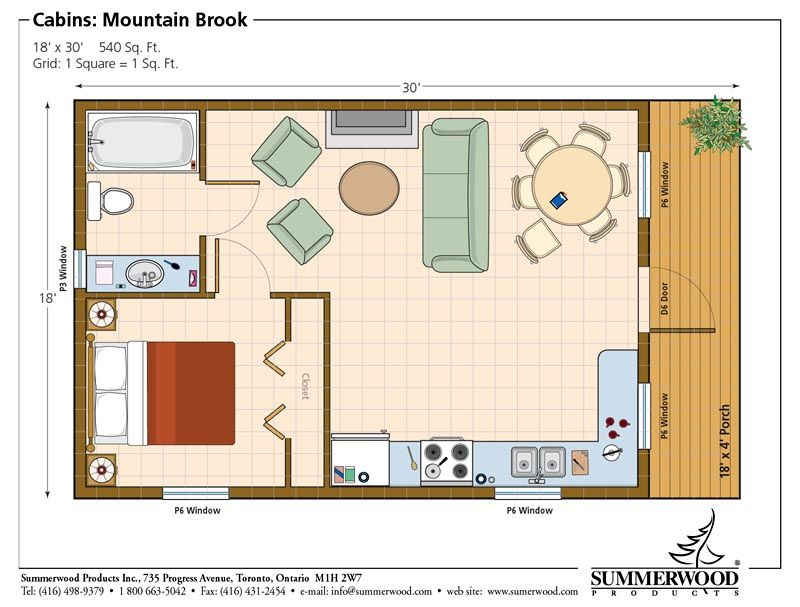One room cabin floor plans studio plan modern casita for Cottage layout design