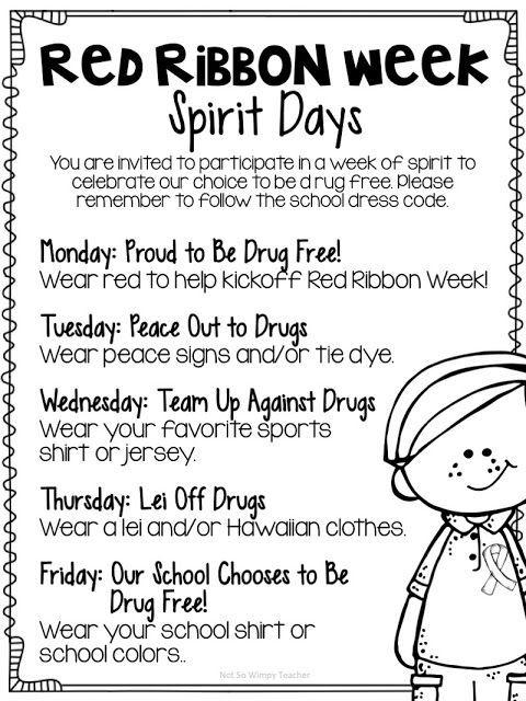 Red Ribbon Week Activities With Freebies Not So Wimpy Teacher Red Ribbon Week School Spirit Week Spirit Week Themes Red ribbon week worksheets kindergarten