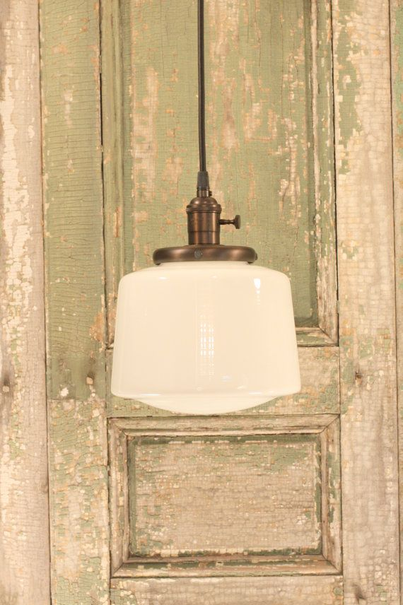 Pendant Light With Tapered Opal Glass Shade And Exposed