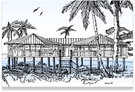 Piling Pier Stilt Houses Hurricane Coastal Home Plans House On Stilts Beach House Art House Plans