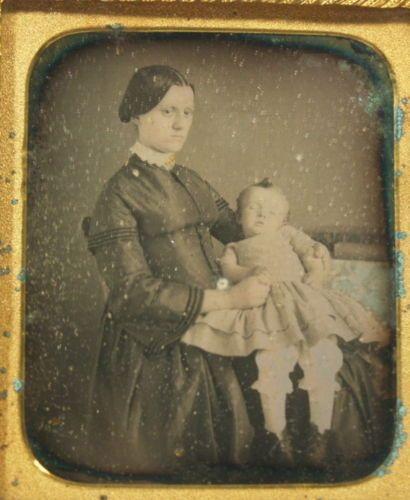 Post Mortem Daguerreotype Photo 1 6 Plate Infant with Mother Pink Tint Dress | eBay