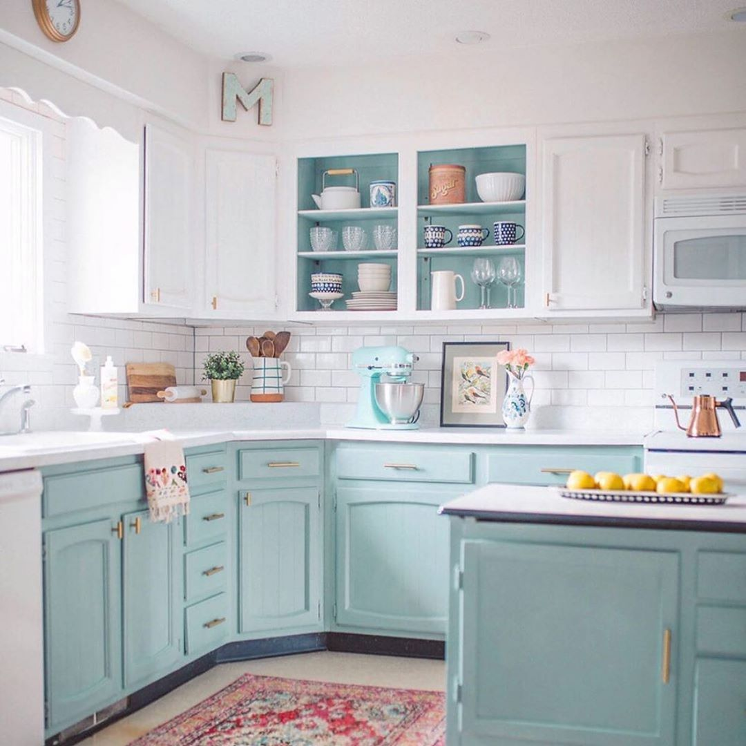 Bold style choices can come in the form of aqua blue cabinetry