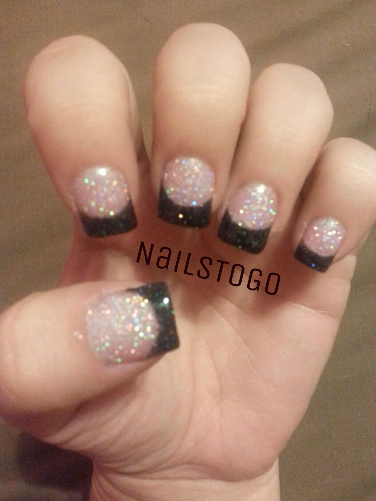 Reverse Pink And White Glitter Acrylic On Nailbed With Black Glitter Hologram On Tip Black Acrylic Nails Nails Nails To Go