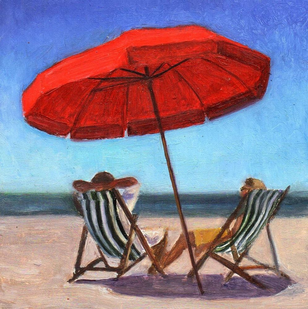 Image result for beach umbrella painting Red beach