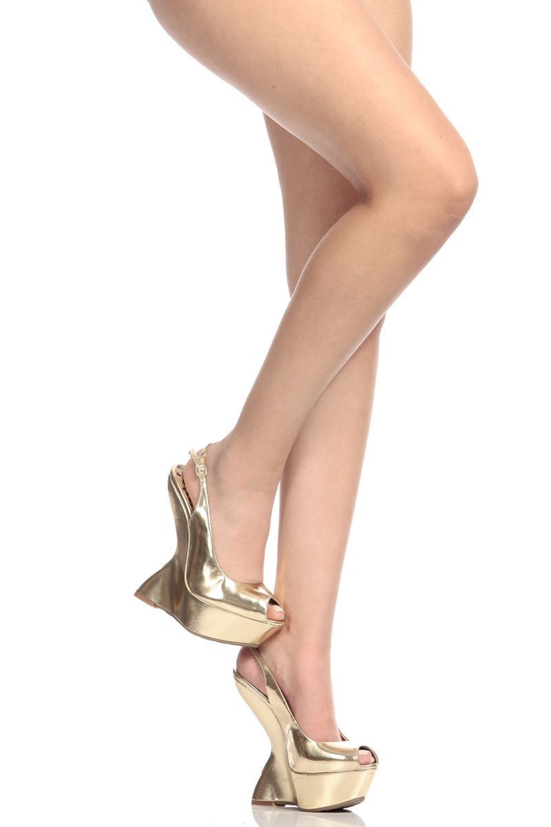 396af4235cb Gold Faux Leather Peep Toe Gravity Wedge   Cicihot Wedges Shoes Store Wedge  Shoes