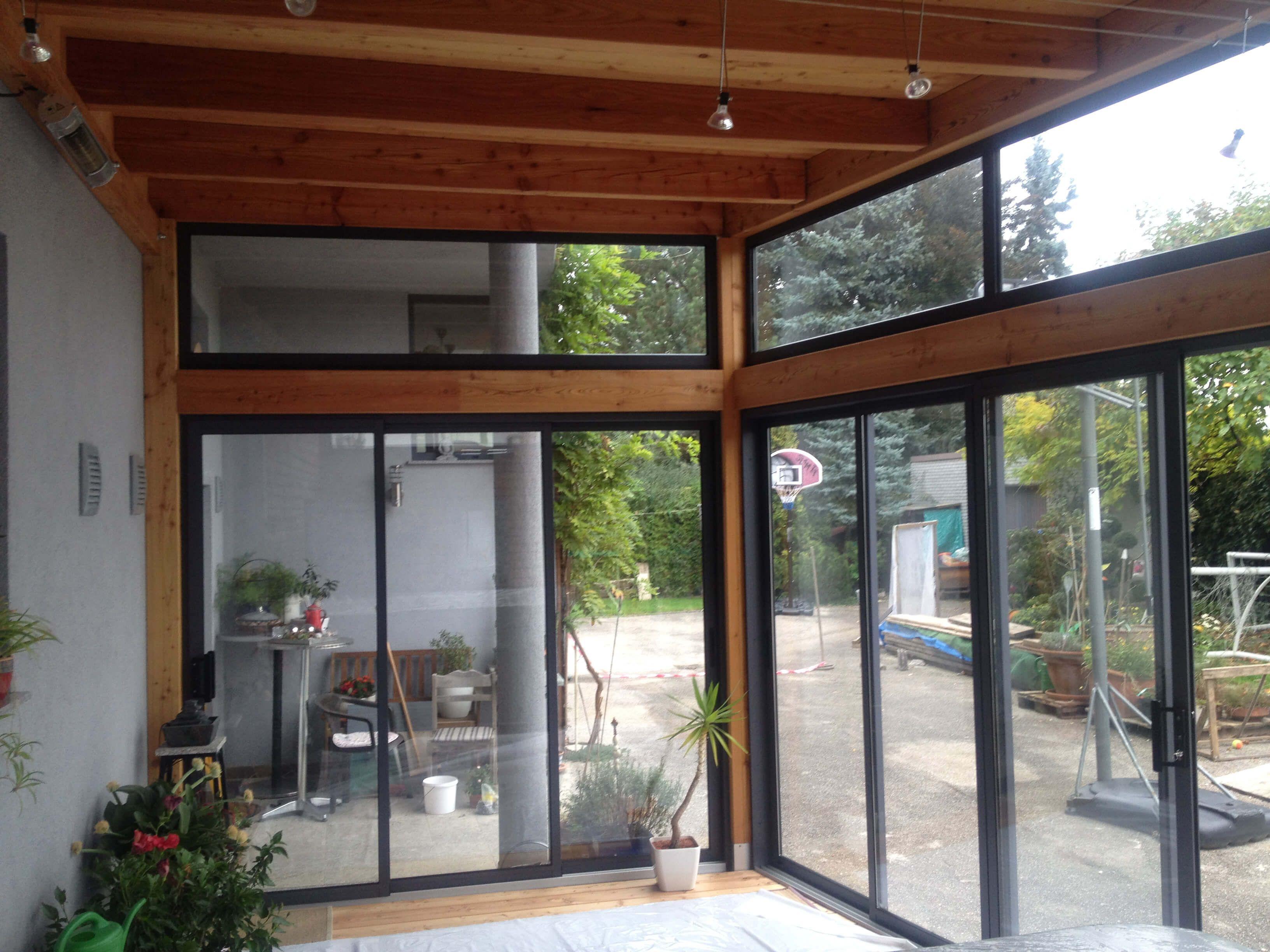 anbau mit schiebefenster in holzkonstruktion in 2019 balkonverglasung terrassenverglasung. Black Bedroom Furniture Sets. Home Design Ideas
