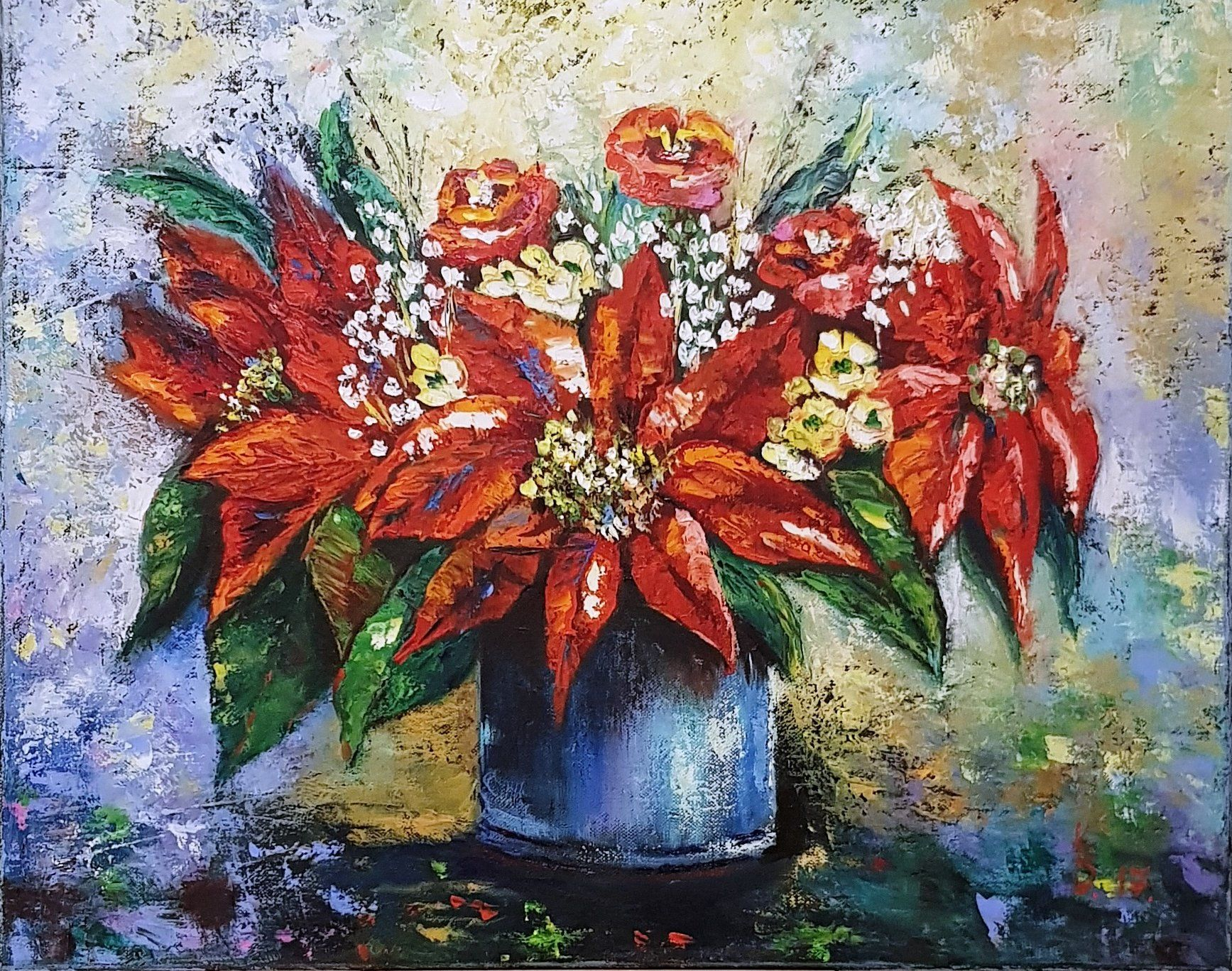 Red poinsettias oil painting Poinsettia flower images