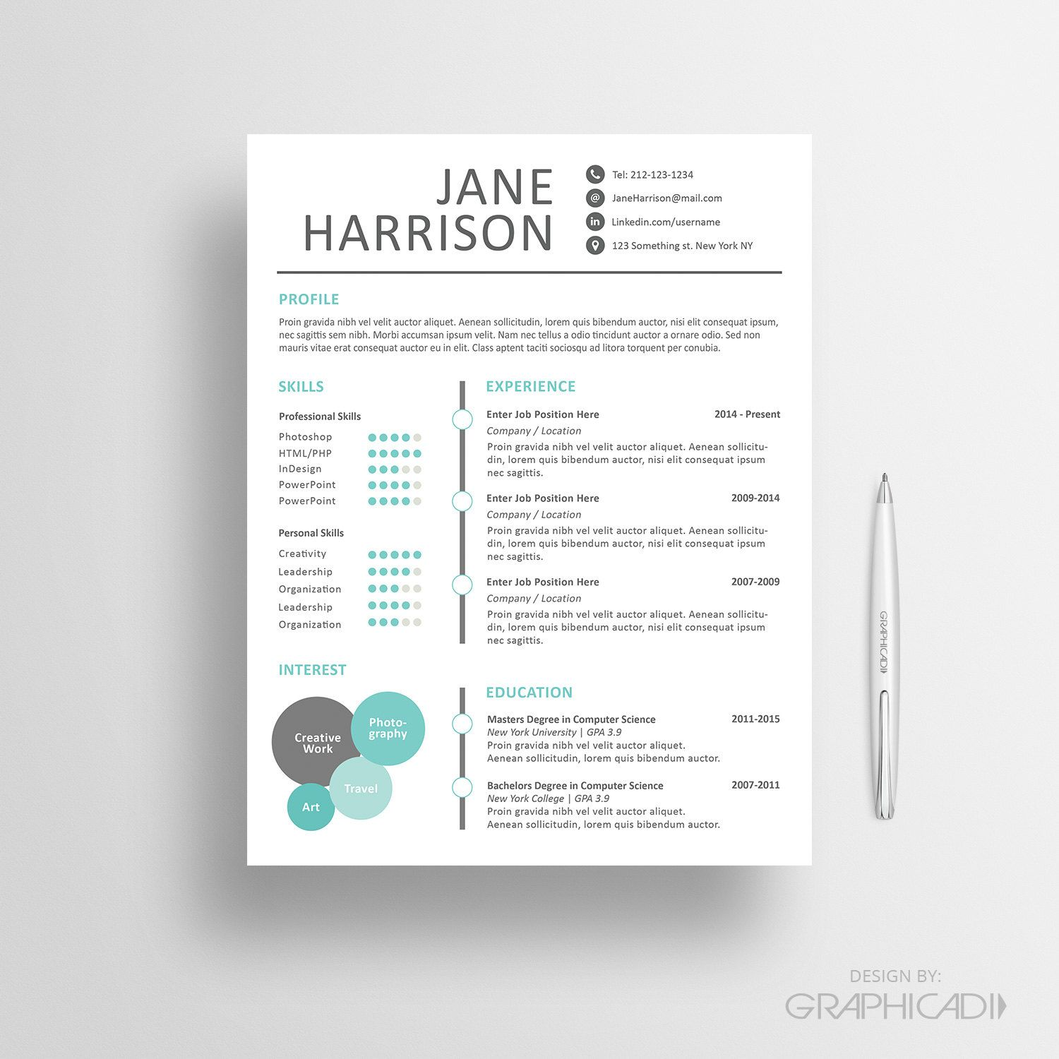 Creative Resume Template  Cover Letter For Word  Design