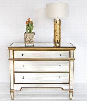 Glam Furniture Mirrored Dressers Diy Borghese Gold 3 Drawer Designer Chest Jpg