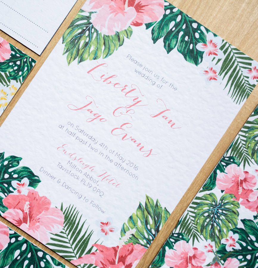 Tropical Hawaiian Wedding Invitation Designed By Sincerely May Www Sincerelymay Co Uk