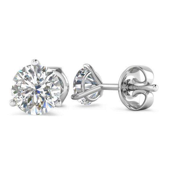 6bbfe77e59a6d 14k White Gold 3-Prong Martini Diamond Stud Earrings - 1.60 carat D ...