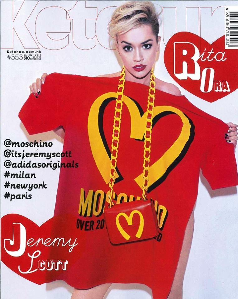 Rita Ora wearing Moschino F/W14 capsule collection by