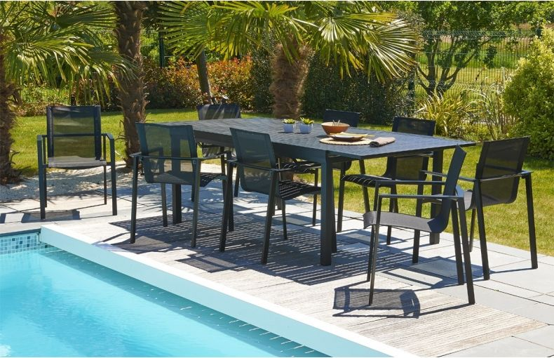 Table de jardin en aluminium, 6 places avec rallonge. #salon ...