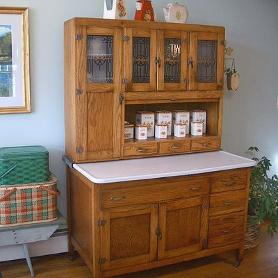 """A Hoosier cabinet (also known as a """"Hoosier"""") is a type of cupboard popular in the first decades of the 20th century. Named after the Hoosier Manufacturing Co. of New Castle, Indiana, they were also made by several other companies, most also located in Indiana."""