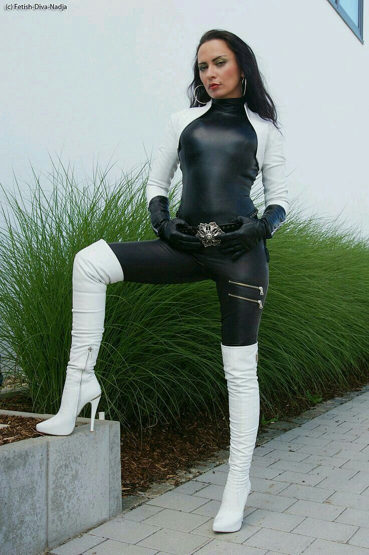 Pin on girls in white boots