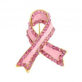 Bling Jewelry Pink Rhinestones Breast Cancer Awareness Pink Ribbon Lapel Pin