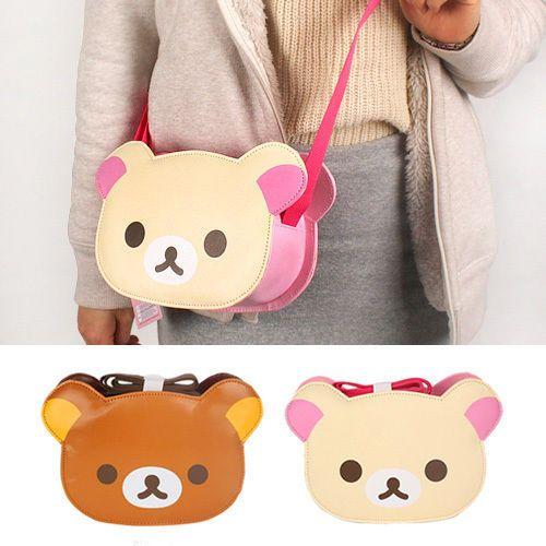 477552ed123c Lovely Rilakkuma Bear Face Shoulder Bag Cross Body Messenger Side Brown  Beige in Clothes