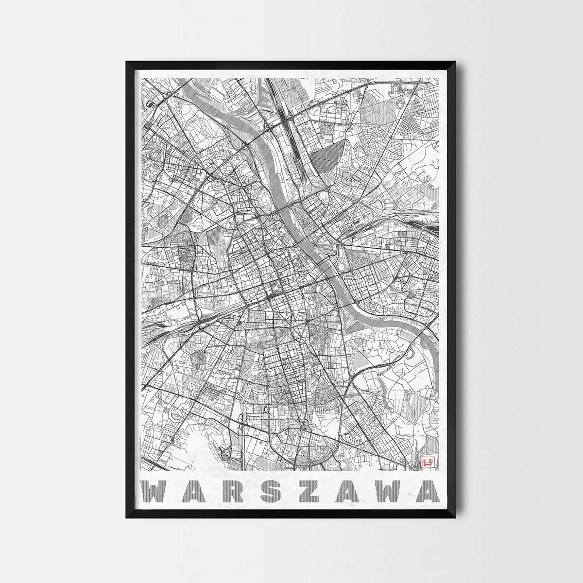 Plakat Warszawa Mapa Miasta City Art Plakat Sztuka