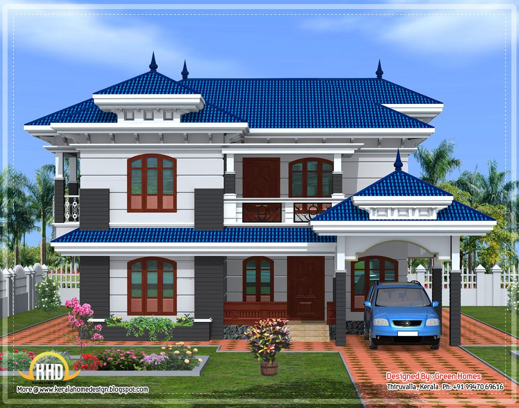 Front elevation of beautiful kerala home design april for Elevation of kerala homes