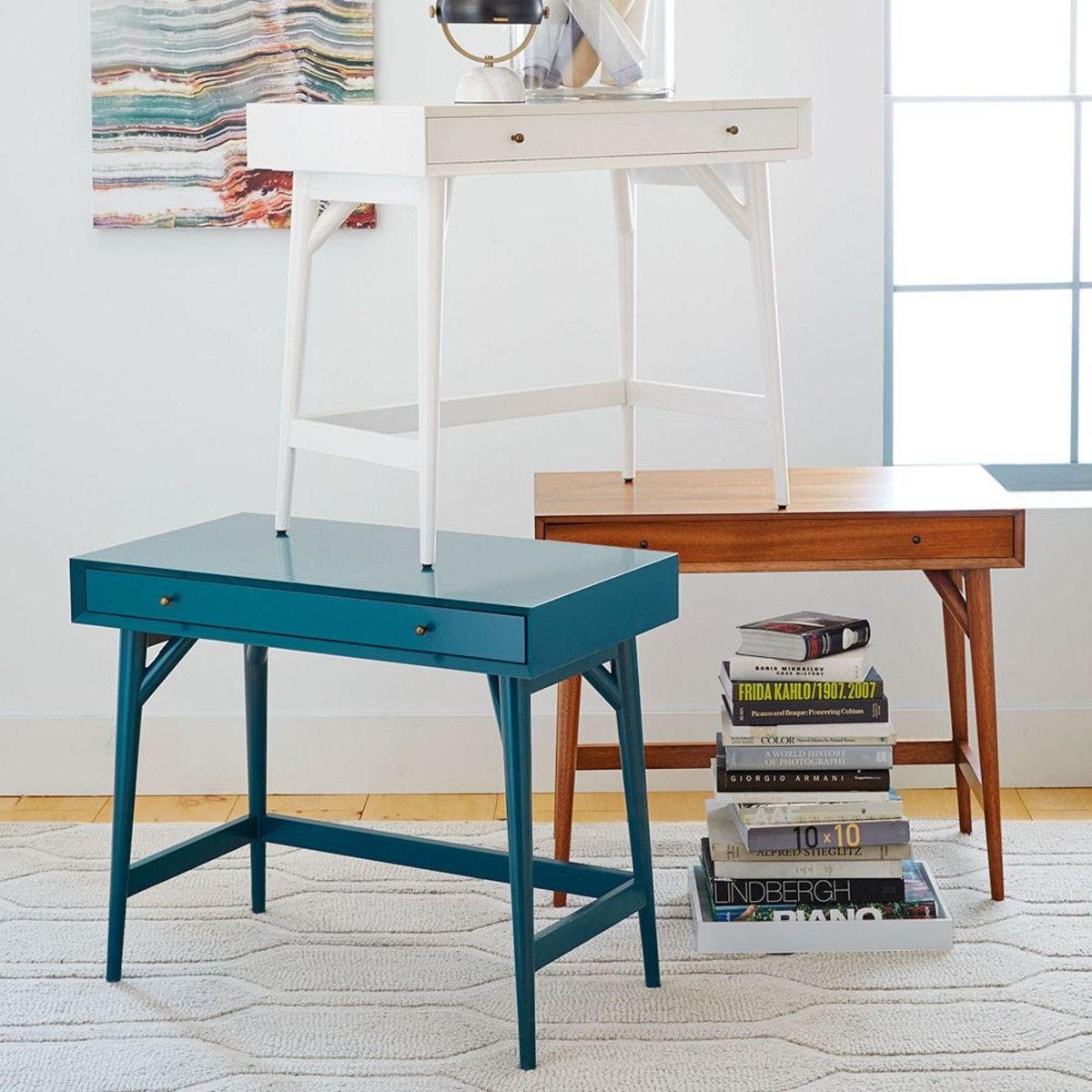 Small Writing Desk For Bedroom Wood White Blue No Matter What Colours Mid Century Will Never