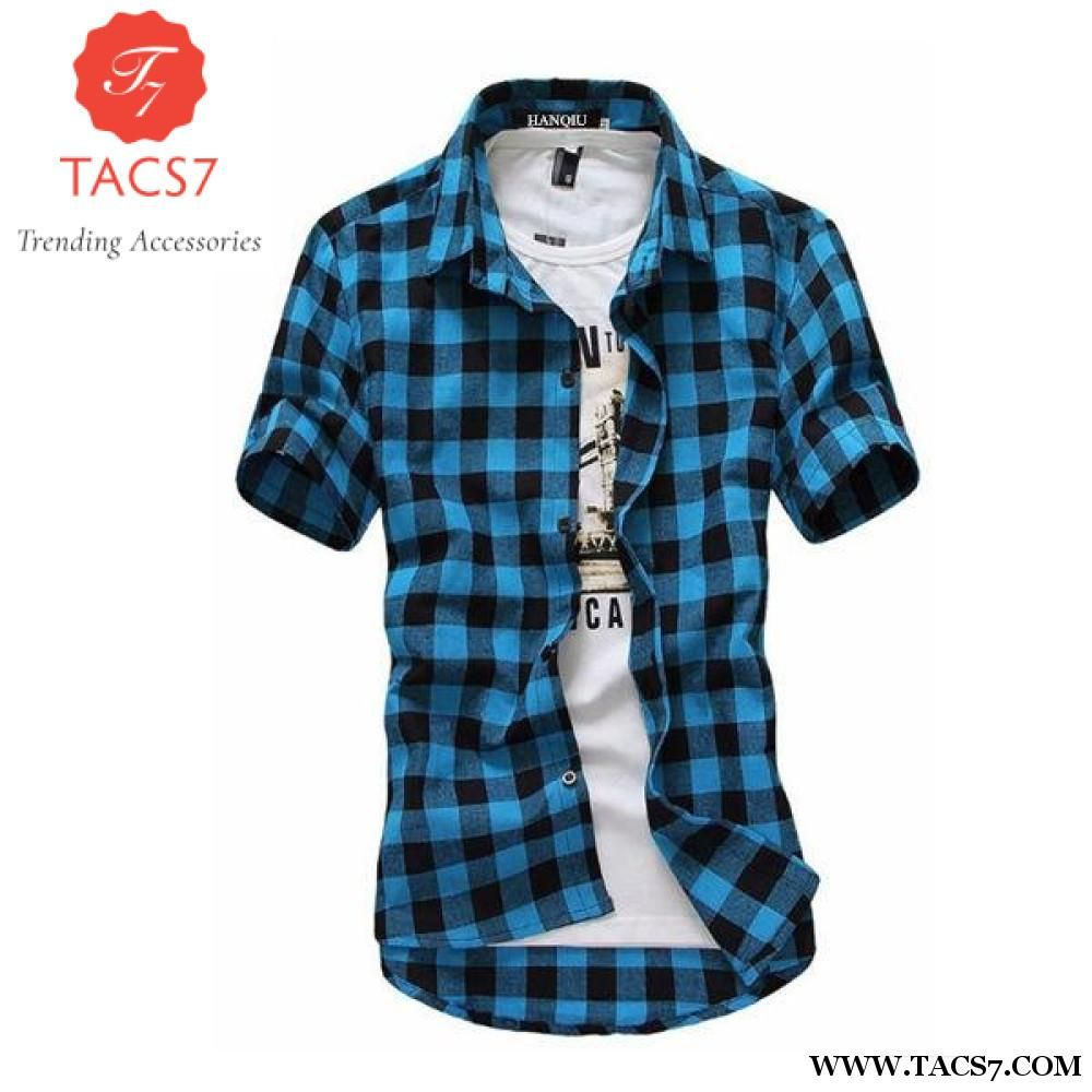 Black · Red And Black Plaid Shirt Men Shirts 2018 New Summer Fashion Chemise  Homme Mens Checkered Shirts