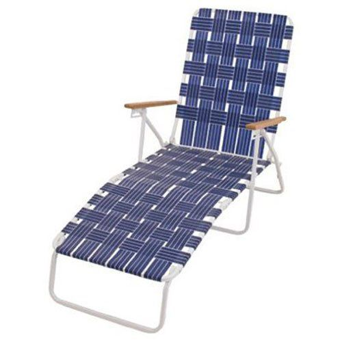White Powder Coated Steel Frame Blue Woven Webbing Hardwood Arms Pool Lounge Chairs Lounge Chair Outdoor Beach Lounge Chair