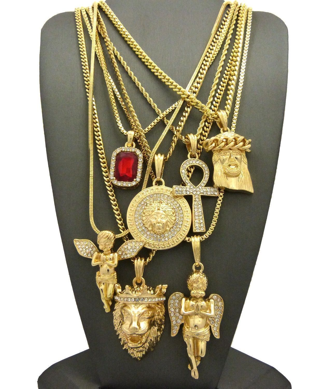 Hip hop ruby angels jesus lion medusa ankh pendant necklace