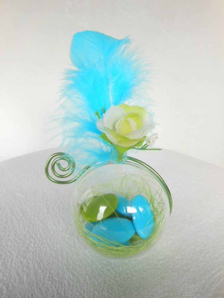 centre de table bapteme gar231on vert anis et bleu turquoise
