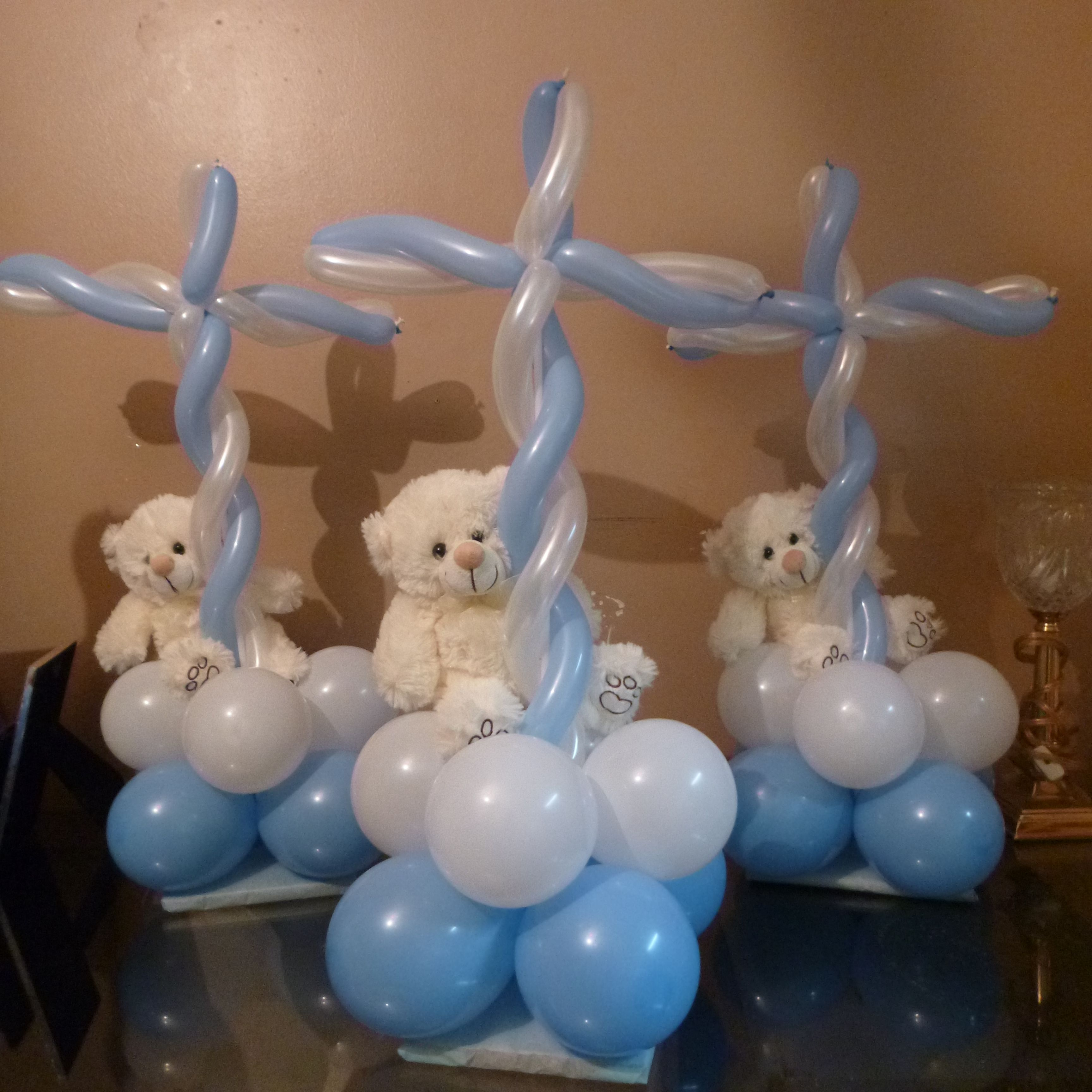 Religious boy baptism balloons balloon creations for Baby boy baptism decoration ideas