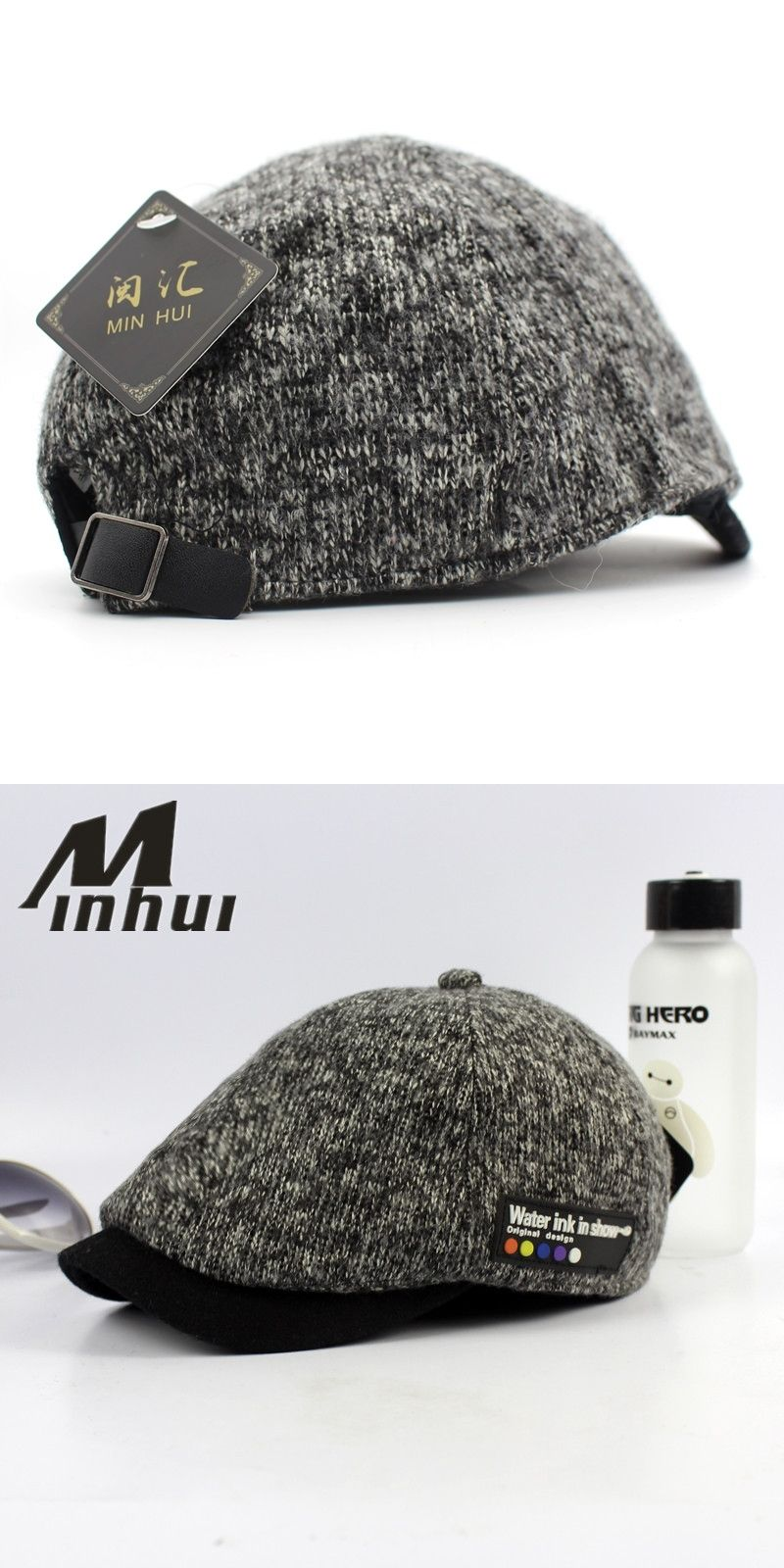 77b64aa1c90c4 Minhui 2016 New Vintage Beret Hats for Men Winter Cap Casquette Visor Knit  Hat Boinas Bere