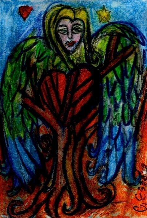 "Tree Angel Painting by Genevieve Esson - Tree Angel Fine Art Prints and Posters for Sale 1""w x 2""h, watercolor drawing $25.00"