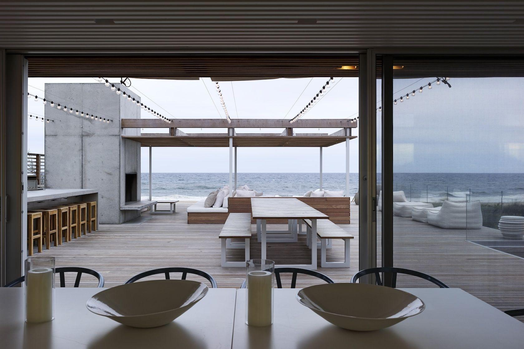 Bridgehampton ny modern house deck overlooking ocean details