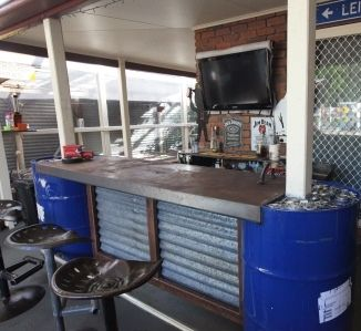 Front Section Of The Bar Made From 44 Gallon Drums With