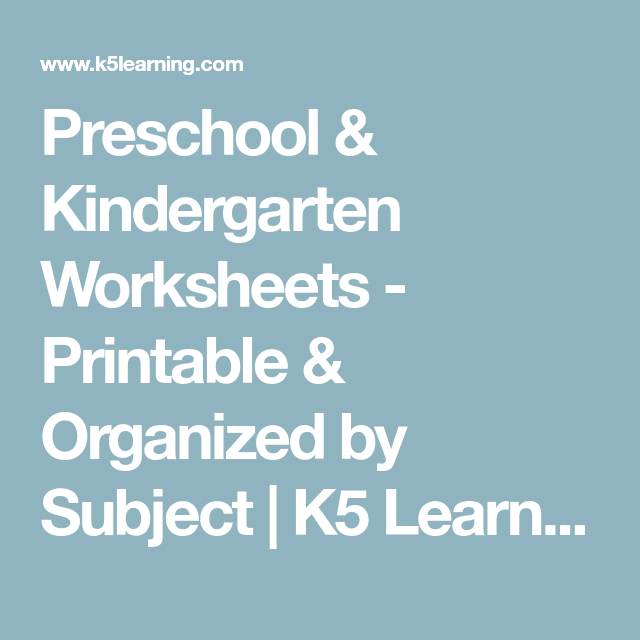 Preschool & Kindergarten Worksheets - Printable & Organized by ...
