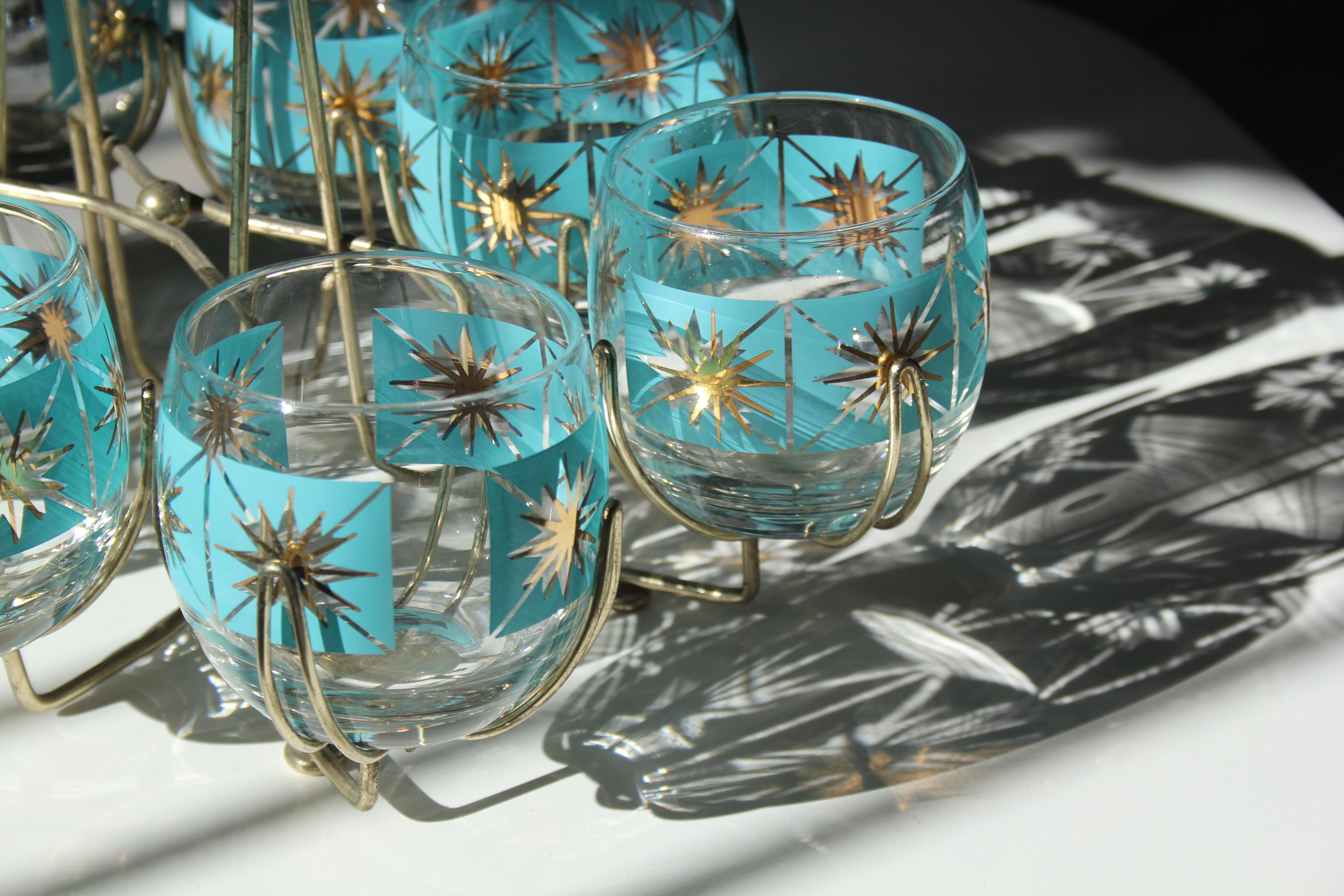 Vintage turquoise blue and gold star burst glass barware