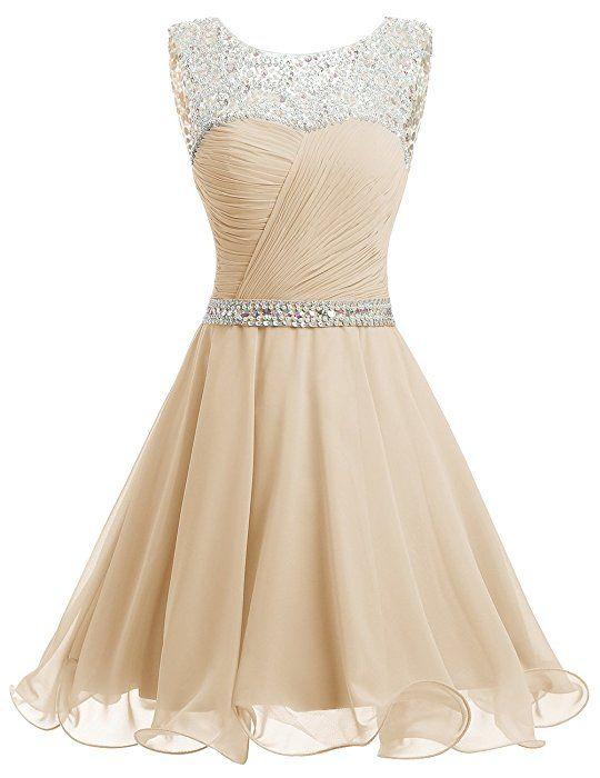 ba3e4ca3971 Dresstells® Short Chiffon Open Back Prom Dress With Beading Evening Party  Dress Green Size 18