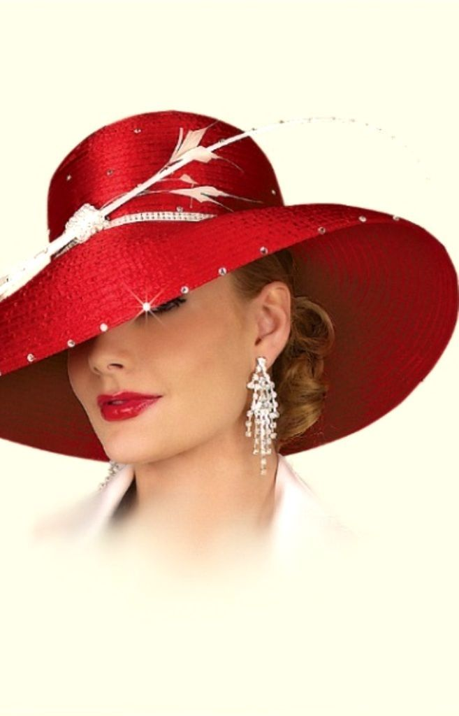 29a4c4974f2 Wide -brimmed Hat with Feather ~ Scarlet   White