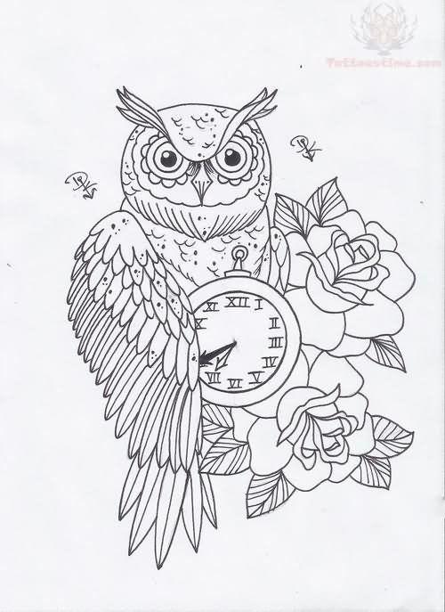 Owl Clock And Roses Tattoo Designs | mis cosas favoritas ...
