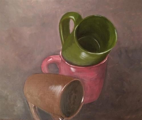 """Daily+Paintworks+-+""""Stacked+Cups""""+-+Original+Fine+Art+for+Sale+-+©+Susie+Bytheway"""