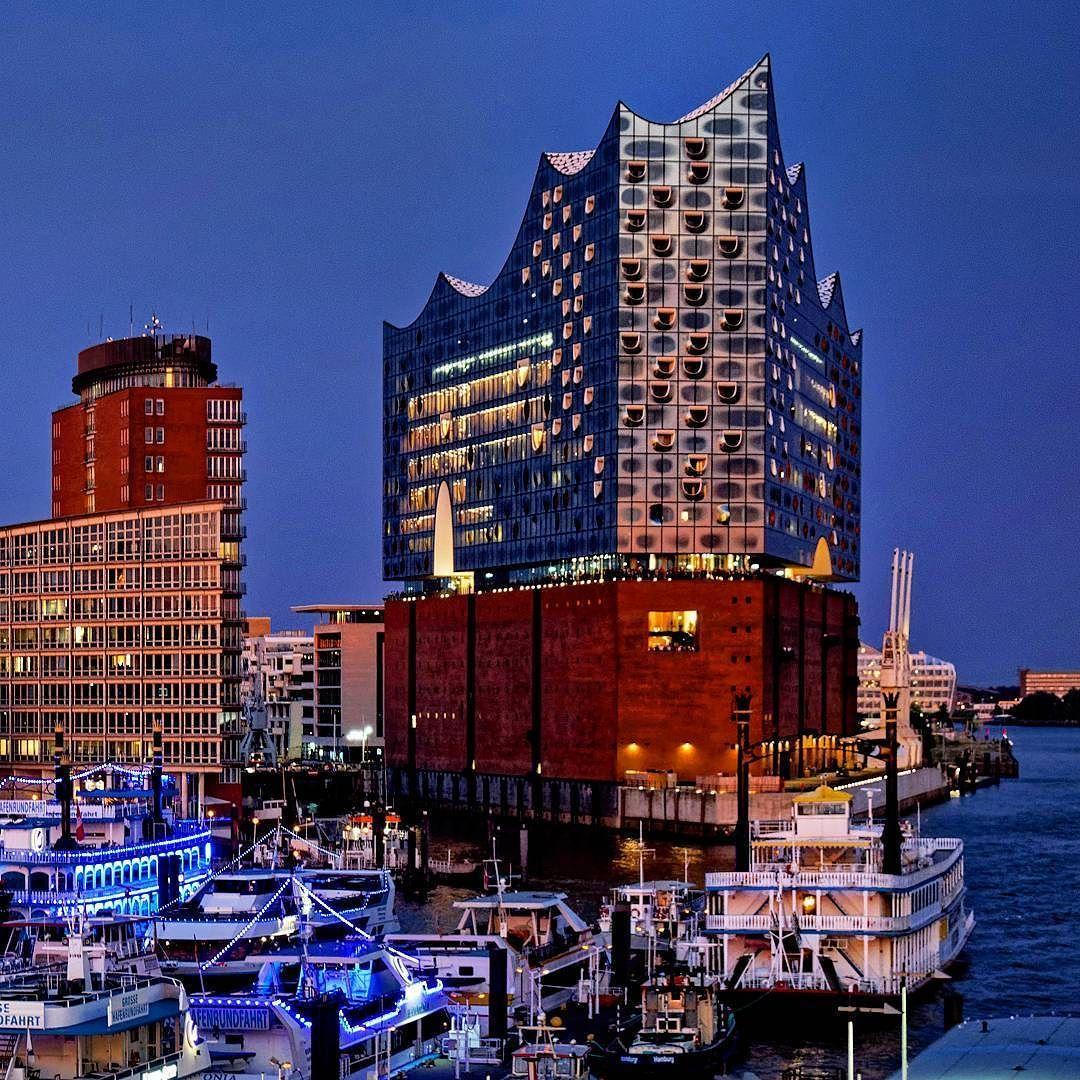 Hamburg Elbphilharmonie Zur Blauen Stunde Hamburg Elfie Elbphilharmonie Blauestunde Instagram San Francisco Skyline Travel