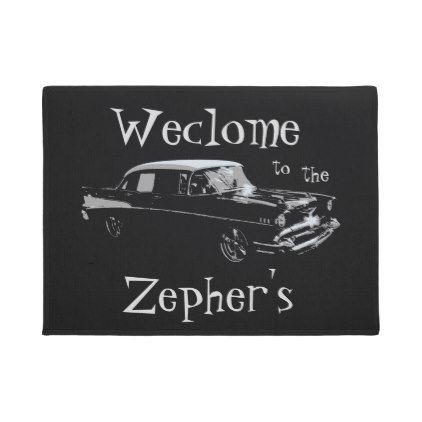 Fancy Hot Rod Add Surname Custom Doormat Zazzle Com Custom Doormat Personalized Door Mats Classic Gifts