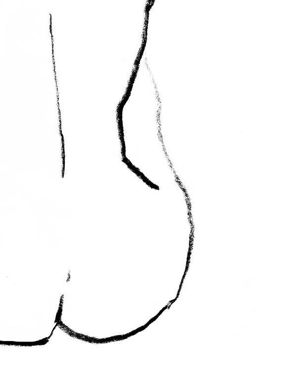 Woman Figure Drawing Printable Art Print Black And White Nude
