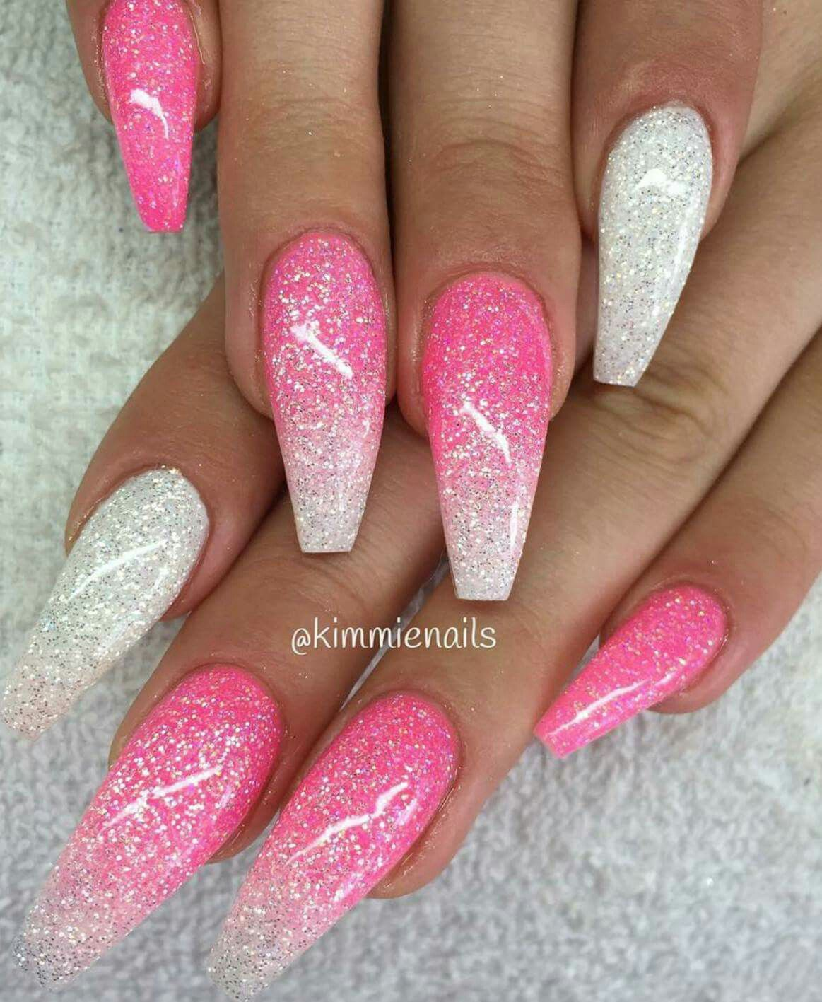 Glitter Cray Ombre Acrylic Nails Pink Nails Diamond Pink Nails