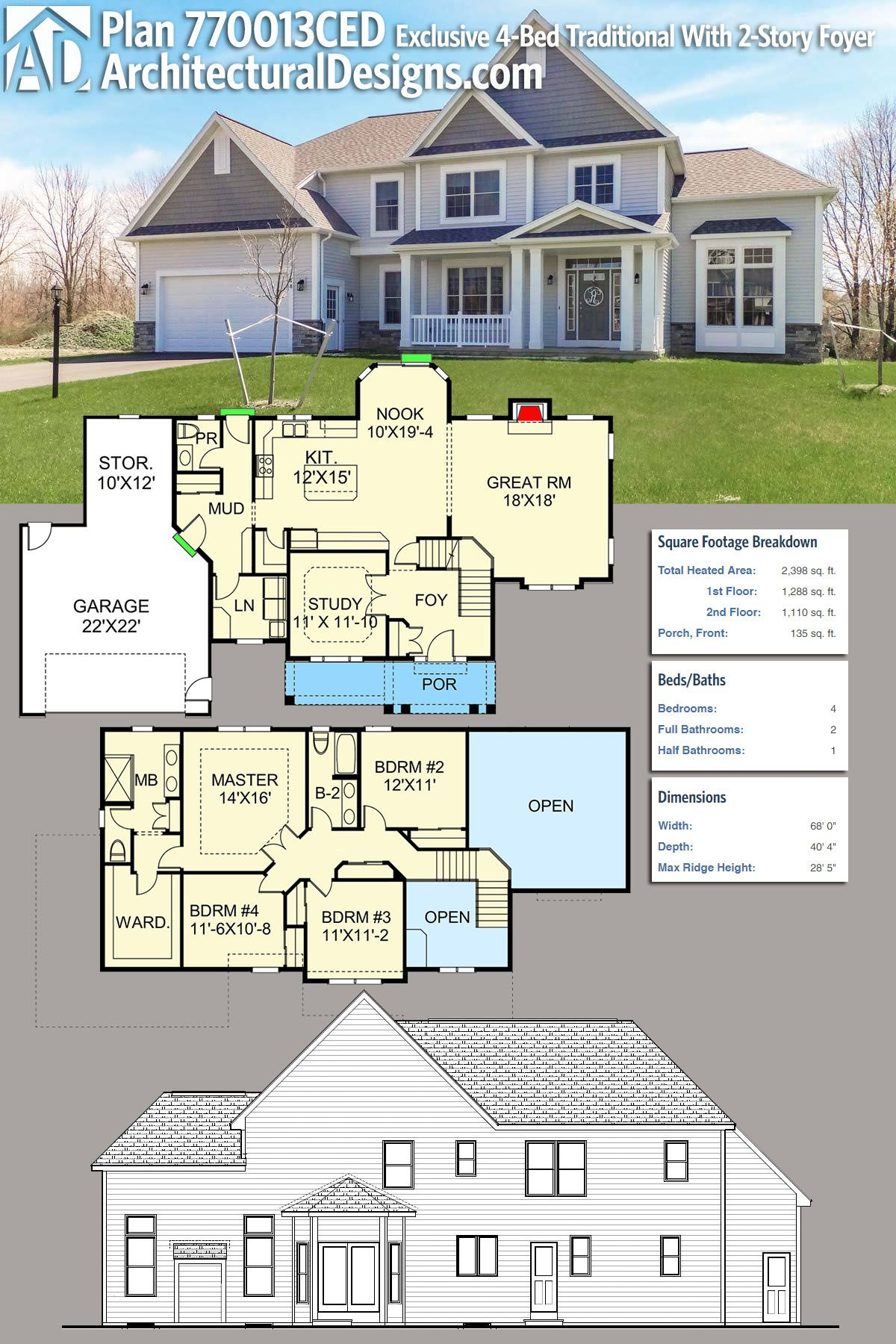 Plan 770013ced Exclusive Traditional With Two Story Foyer And Great Room House Plans Dream House Plans House Blueprints