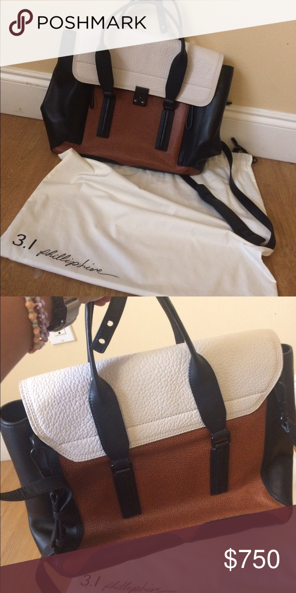✨ Philip Lim bag ✨ Beautiful Philip Lim bag. Perfect for school/college. It's a very spacious bag. BEAUTIFUL brown and white and black colors. In a very good condition. Well kept and always took good care of it. Ask away :) Phillip Lim Bags Crossbody Bags