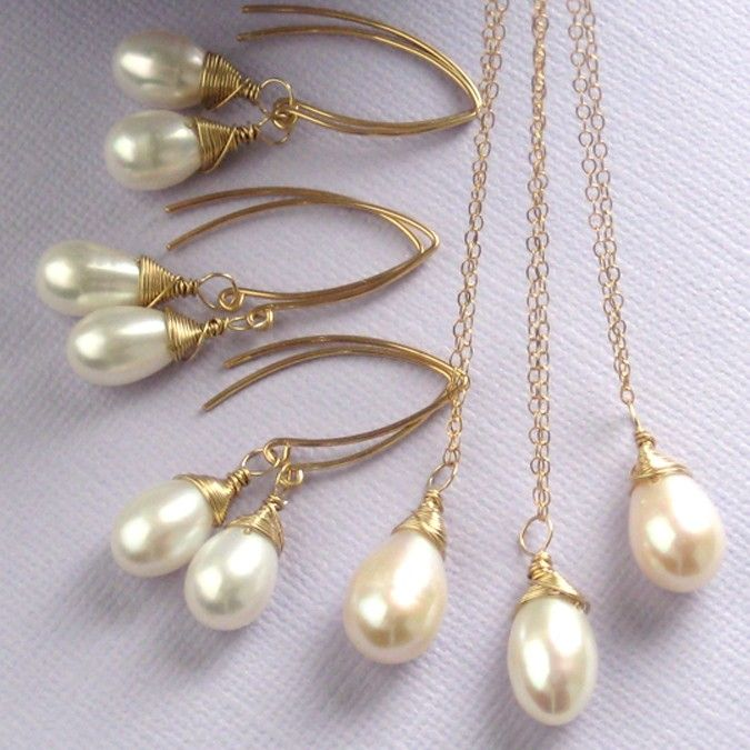 Bridesmaid Gift Set of 3 Simplicity Necklaces and Earrings - White Pearl and 14k Gold fill. $194.00, via Etsy.