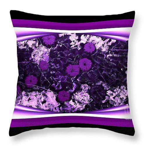 "Poppy Jasper Stone Painting with Purple Borders Throw Pillow 14"" x 14"""
